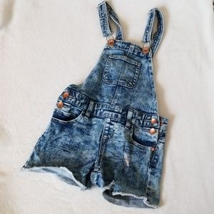 Justice distressed denim overall shorts Size 7R
